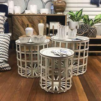 Set of three metal side table