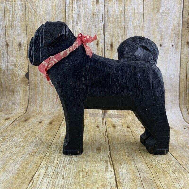 Chainsaw Folk Art Black Pug Dog Pine Wood 2004 Idaho Dog Bark Park