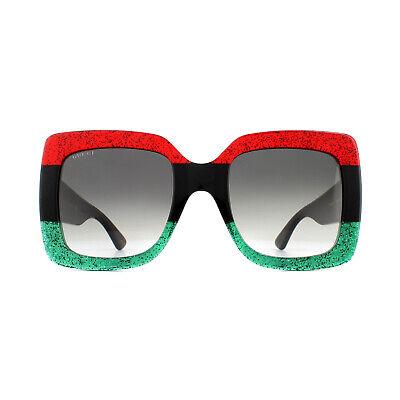 Gucci Sonnenbrille GG0083S 001 Rot und Grün Glitzer mit Schwarz Grau Farbverlauf
