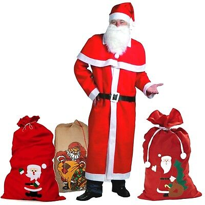Weihnachtsmann Kostüm-Set 5-/6-teilig ohne / mit Filz / Jute Geschenke Sack