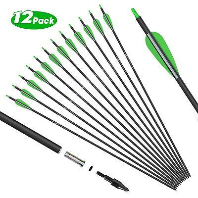 12x 31/' Archery SP550 Carbon Arrows Hunting Arrows /& 125 Gr Replacement Arrows