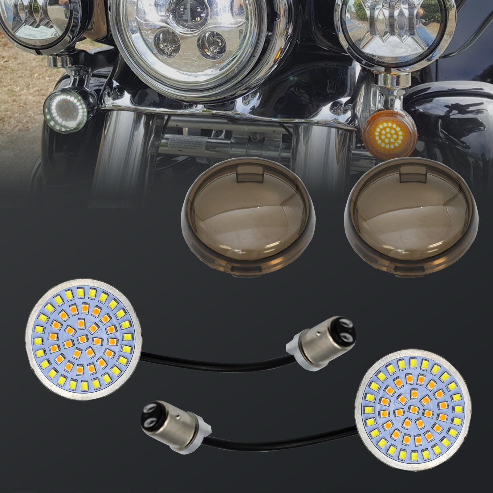 Bullet Style White  Amber Led Turn Signal Switchback Light Fit Harley Davidson