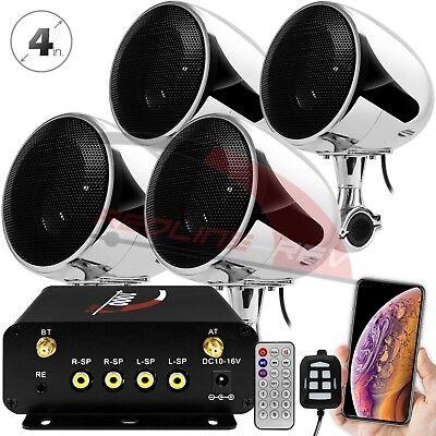 - 1000W Amp Waterproof Bluetooth Motorcycle ATV Stereo 4-CH Speakers Audio System