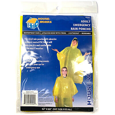 Yellow Rain Poncho (Emergency Rain Poncho Yellow Camping Hiking Sport Bug-Out Disaster WHOLESALE)