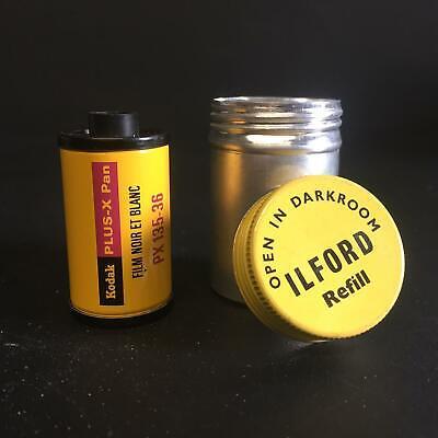 Vintage Ilford 35mm metal film canister. with retro Kodak Plus-x Pan film roll