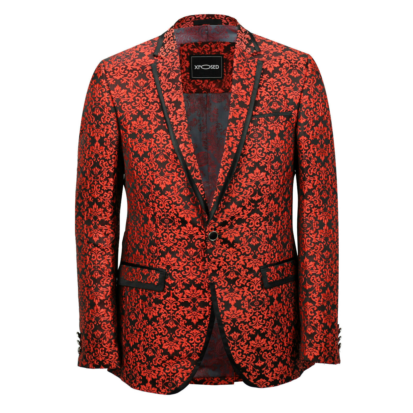 Mens Red Paisley Print Italian Designer Suit Jacket Fitted