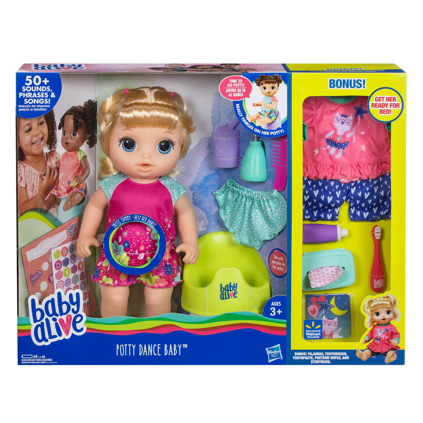 Baby Alive Potty Dance Exclusive Blond Hair Value Pack TALKS