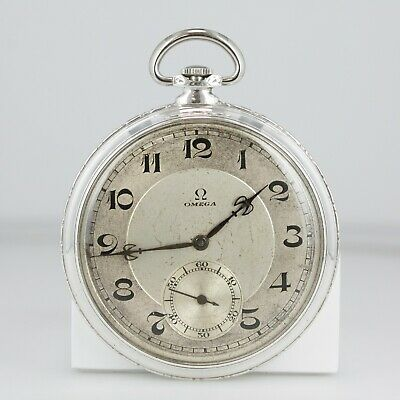 Omega Antique Solid Silver Pocket Watch Movement # 6596879 Case # 7148123
