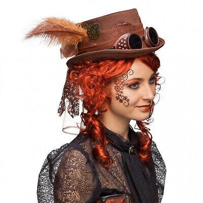 Zylinder Hut Steampunk braun mit Brille Fantasy für - Punk Kostüm Zubehör