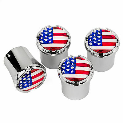 USA FLAG Logo Chrome Tire Valve Stem Caps MADE IN USA