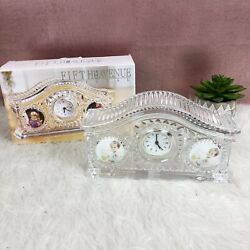 Fifth Avenue Crystal Picture Frame Clock Home Decor