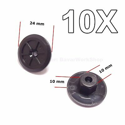 (10x for BMW Plastic Unthreaded Nylon Nuts Nut Mounting Clips )