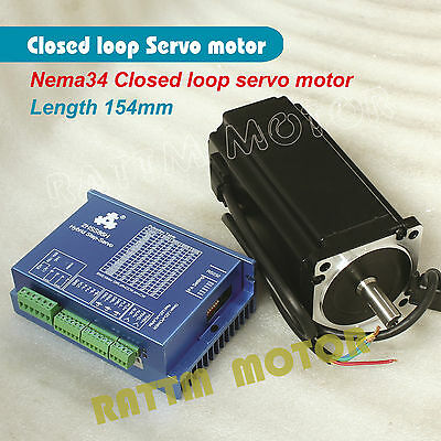 【DE Stock】Nema34 12N.m Closed-Loop Servo Motor 154mm&HSS86 Hybrid Driver CNC Kit