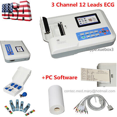 Digital 3 Channel 12 Lead Ecgekg Machine Software Electrocardiograph Us 300g