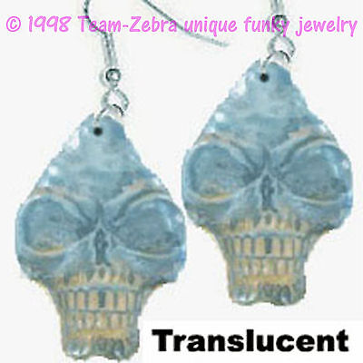 Huge Funky Translucent Blue SKULL EARRINGS Gothic Pirate Horror Costume Jewelry