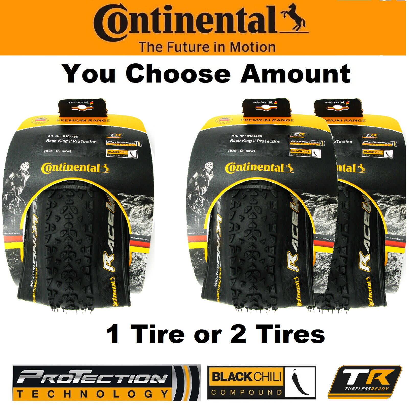 1 or 2PAK Continental Race King II 27.5x2.2 Fold ProTection