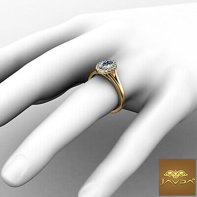 Halo Split Shank Oval Diamond Engagement French Pave Set Ring GIA F VVS1 0.70Ct 7