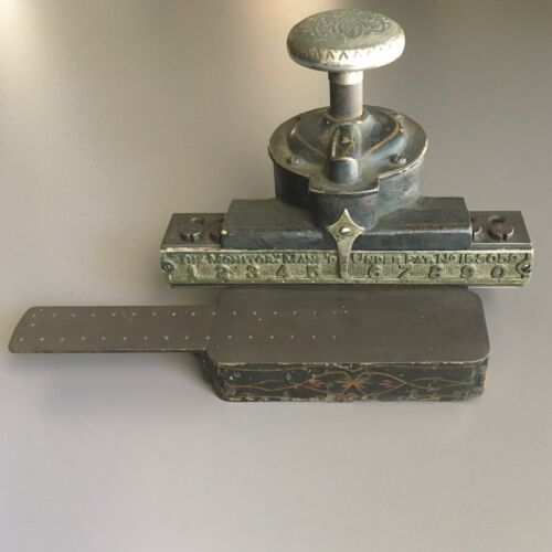 """Antique """"The Monitor"""" """"Monarch """" Check Protector Perforating Machine/Stamp/Punch"""