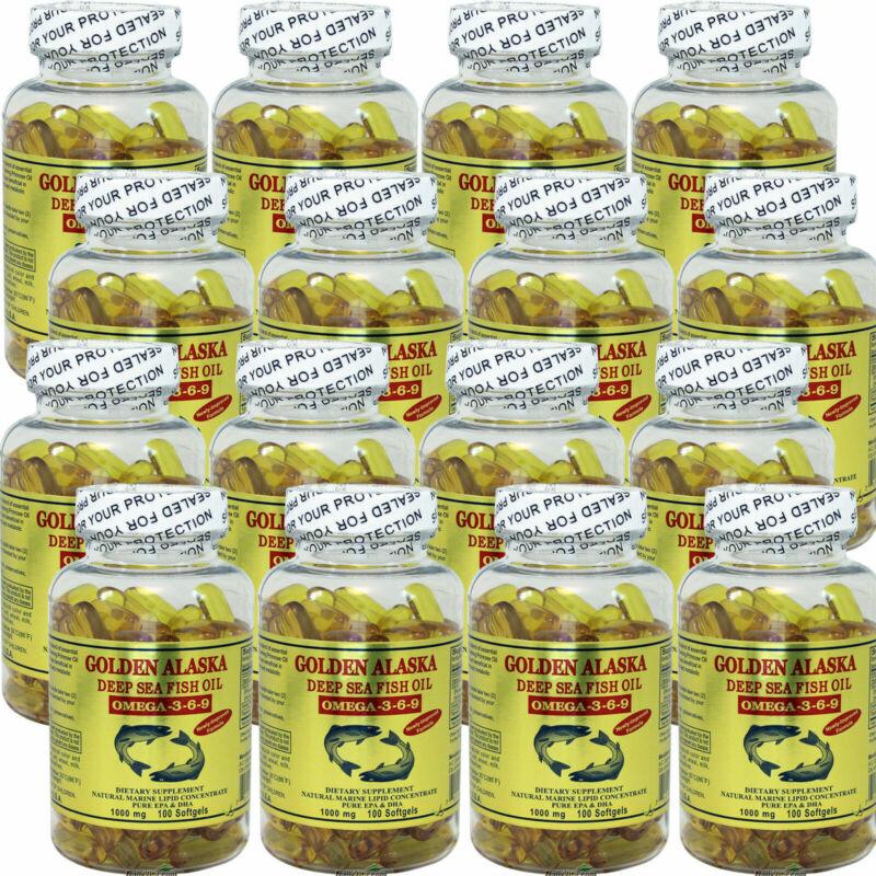 12 x Golden Alaska Deep Sea Fish Oil Omega 3,6,9 100 Caps = Total 1200 Caps