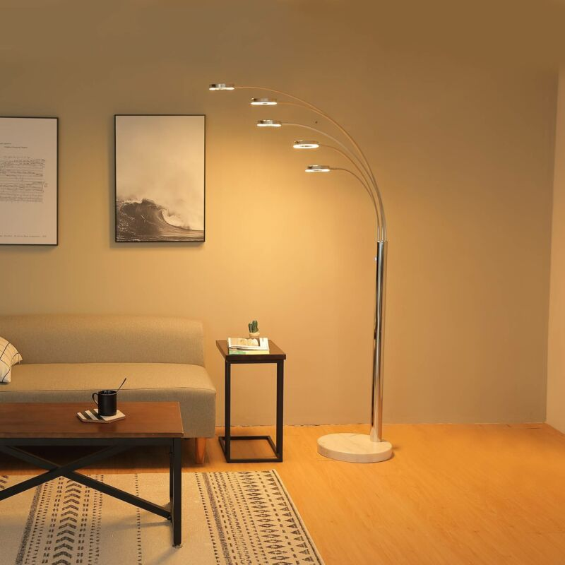 LED Floor Lamp w/ 5 Curving Lamp Heads & Three-way Touch  Di