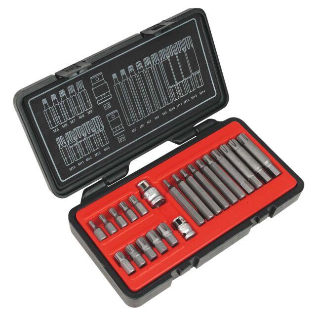 """Sealey Heavy Duty Ribe Bit/Tool Kit Set 22 Piece 3/8"""" & 1/2"""" Sq Drive - AK2190"""