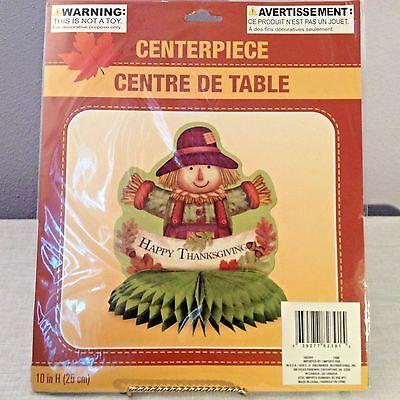 "Happy Thanksgiving Scarecrow Honeycomb Centerpiece Tabletop Leaves Acorn 10""x9"""
