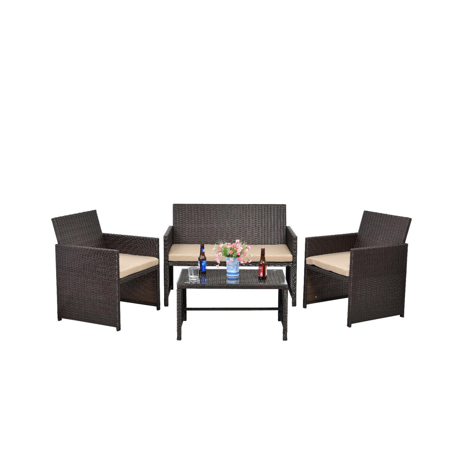 Garden Furniture - Patio Outdoor Wicker Sofa 4 PCS Furniture Garden Rattan Sectional Set Cushion