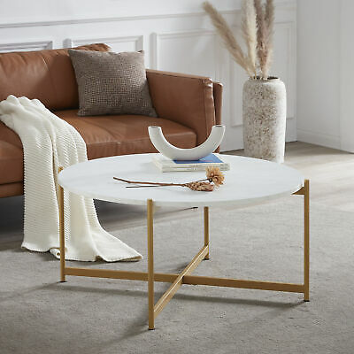 Belleze Round Coffee Table, Marble/Gold