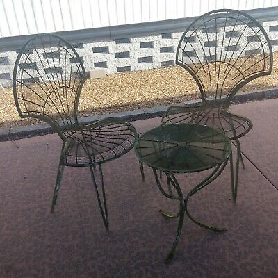 Table Outdoor Side Antique French Iron Small Tables Pair Patio Pool yellow
