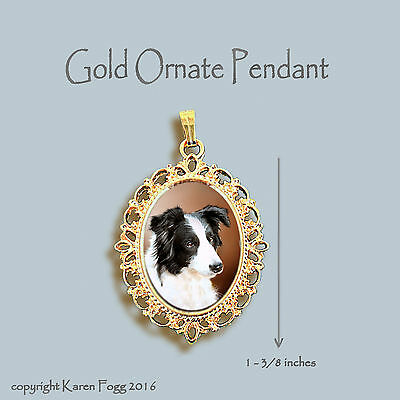 Border Collie Black And White - BORDER COLLIE DOG Black and White - ORNATE GOLD PENDANT NECKLACE
