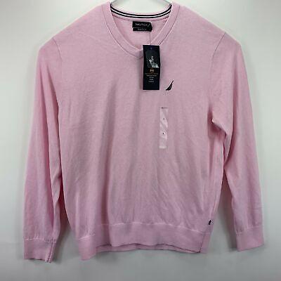 Nautica Mens Lightweight Jersey V-Neck Sweater Pink L
