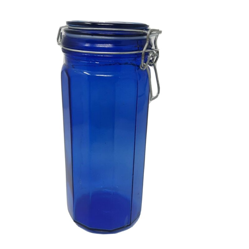 "Cobalt Blue Glass Jar Canister 10"" w/ Rubber Seal Hinged Bale Wire Closure Flaws"