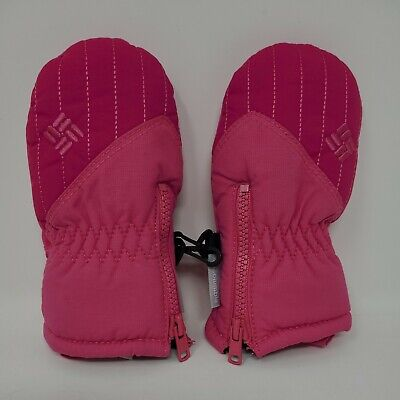 EUC Columbia Pink Winter Mittens Gloves Infant One Size Fleece Interior Zip