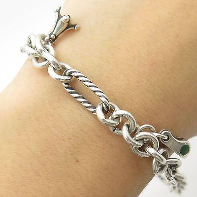 "925 Sterling Silver Dangling Charm Unique Link Anklet 8 3/4"""