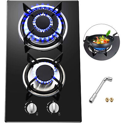 """12"""" 2 Burners Tempered Glass Gas Cooktop Gas Hob Built-In Stove iron grates"""