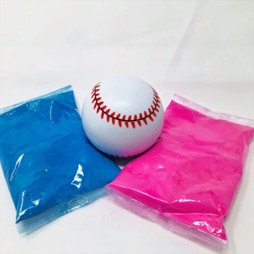 1 Gender Reveal Baseball Kit  - 1 Pink and 1 Blue powder - great quality