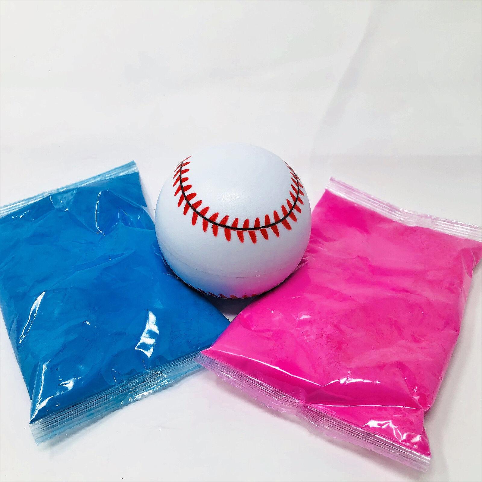1 Gender Reveal Baseball Kit  - 1 Pink and 1 Blue powder