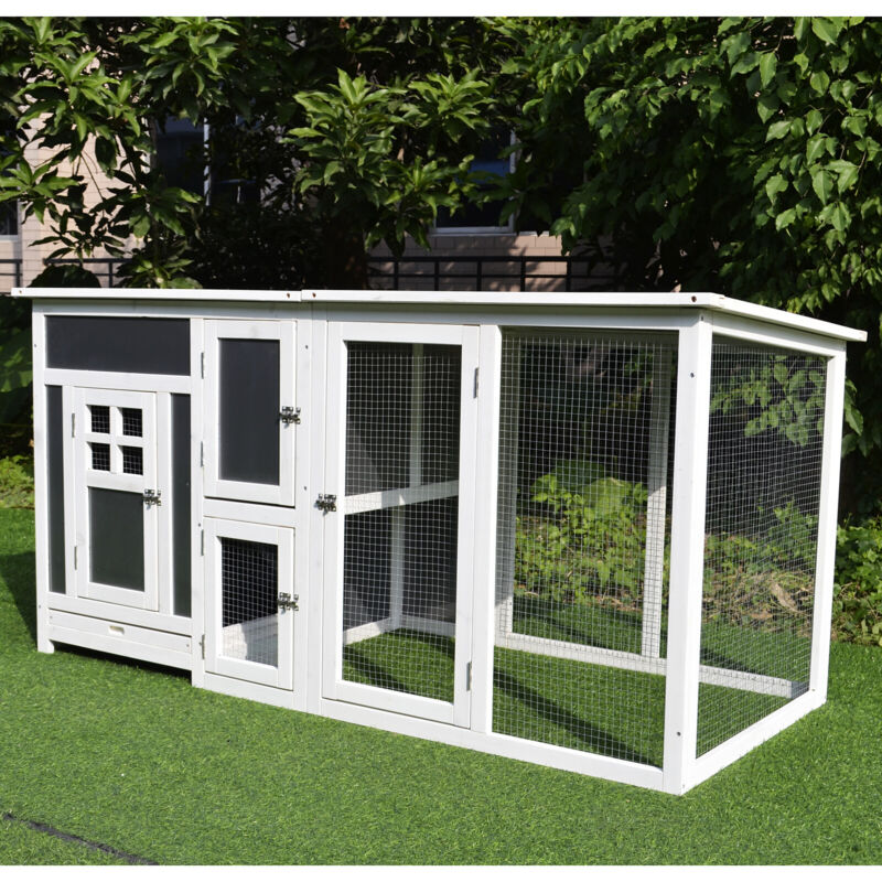 """PawHut 63"""" Wooden Indoor Outdoor Covered Chicken Coop with Run Grey and White"""