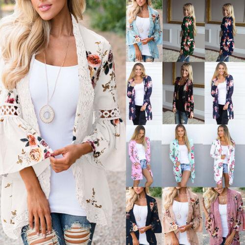 Women Floral Kimono Cardigan Summer Boho Long Sleeve Casual Blouse Outwear Coats