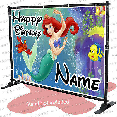 Little mermaid Ariel Birthday Banner Personalized Custom Party Backdrop kid
