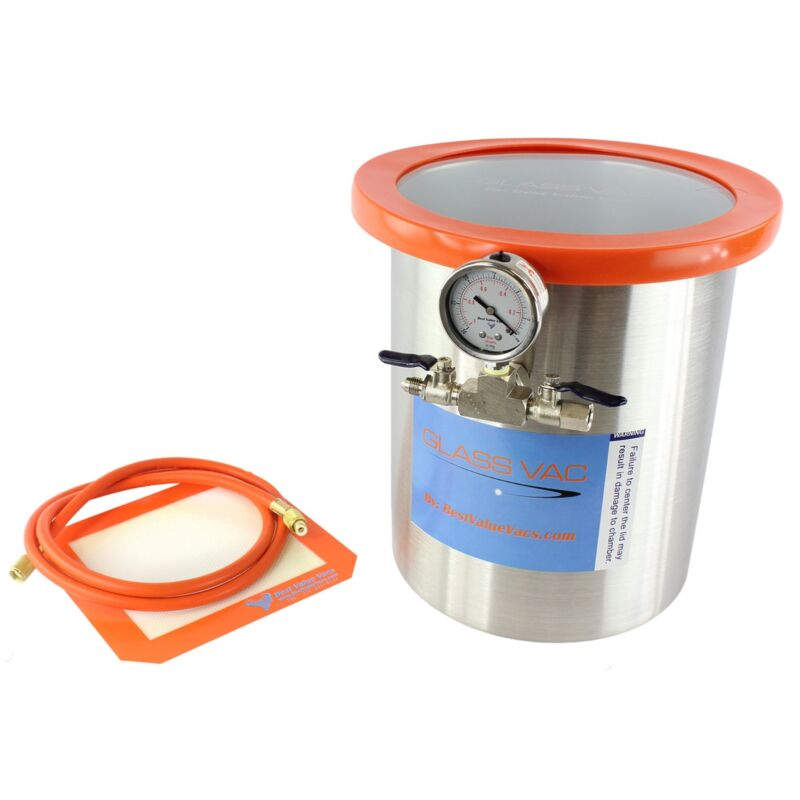 3 Gallon Tall Stainless Steel GlassVac Vacuum Chamber for Wood Stabilizing