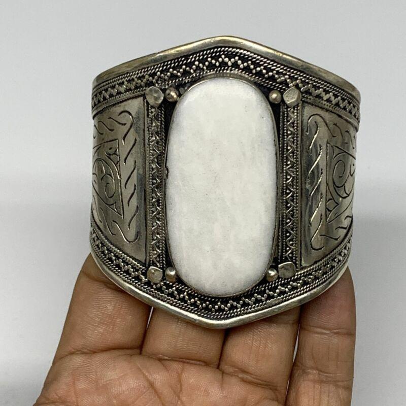 """60g, 2.8"""" Turkmen Cuff Bracelet Tribal Oval Shape, White Jade, B13743"""