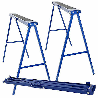 2 x TRESTLE SAW HORSE STEEL STANDS FOLDING 780MM NON SLIP TOP CARPENRTY