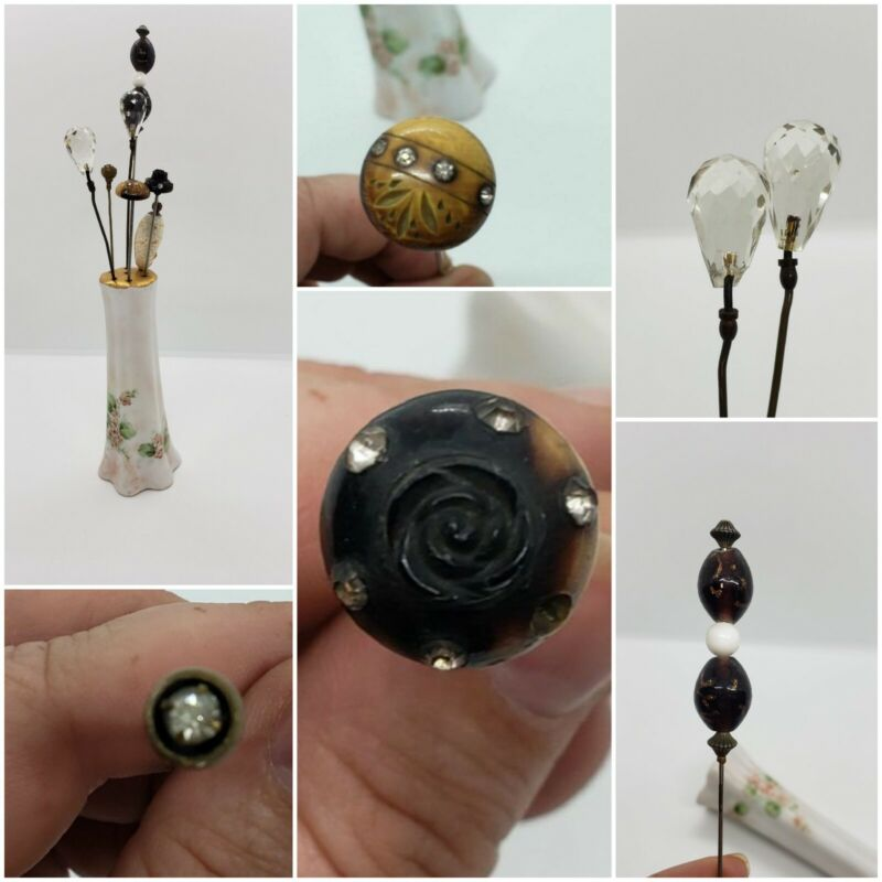 Antique Victorian Hat Pin Collection Carved Rose Rhinestone & Hand Painted Henri