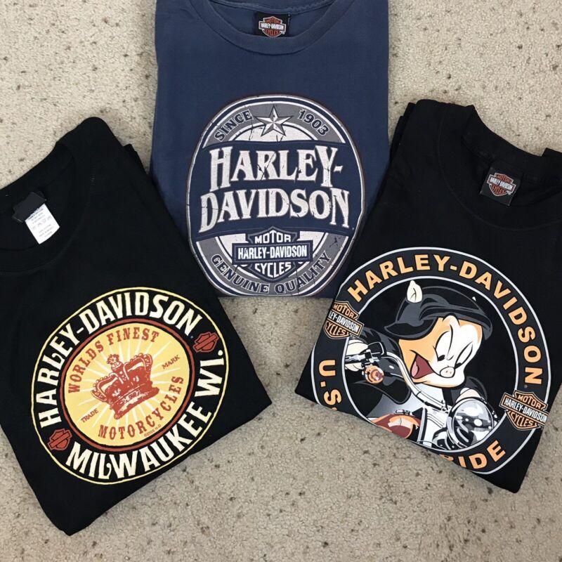 HARLEY DAVIDSON Lot Of 3 Short Sleeve T-SHIRTS Size XL