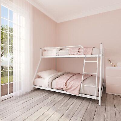 White Twin over Full Bunk Beds Kids Teens Adult Dorm Bedroom