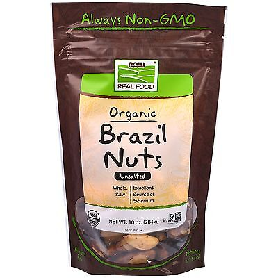 NOW Real Food - Brazil Nuts (Unsalted, Whole, Raw, Organic) - 10 oz (284 Grams)