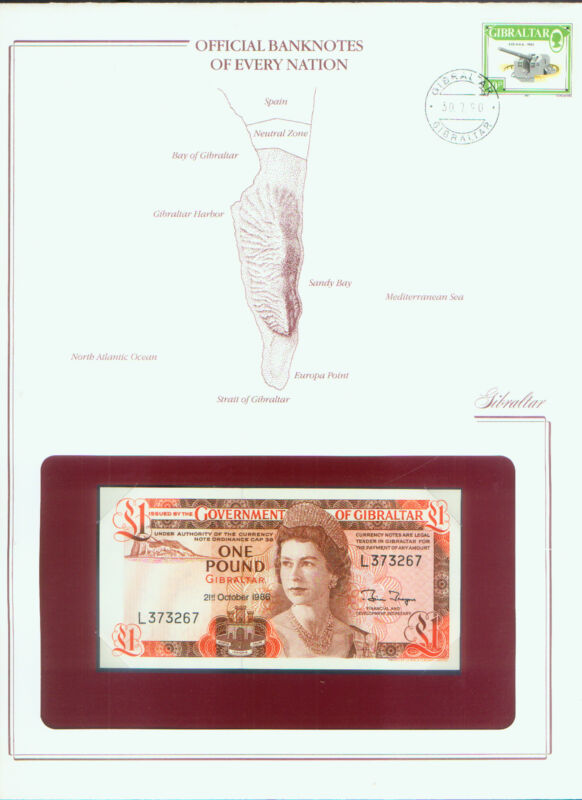 GIBRALTAR 1986 PICK# 20d BANK NOTE £1 STAMPED WINDOWED ENVELOPE with MAP & INFO