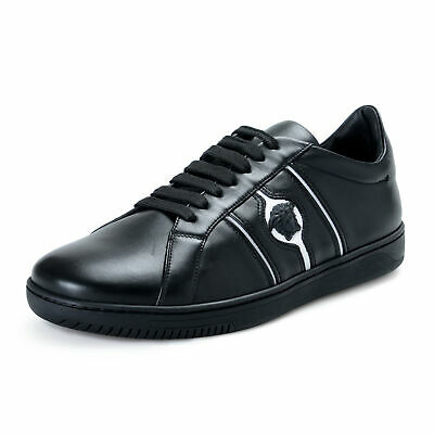 Versace Men's Black Leather Fashion Sneakers Shoes US 7 IT 40