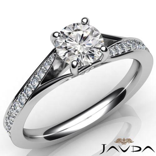 0.85ct Round Brilliant Diamond Engagement Pave Set Ring GIA E SI1 14k White Gold